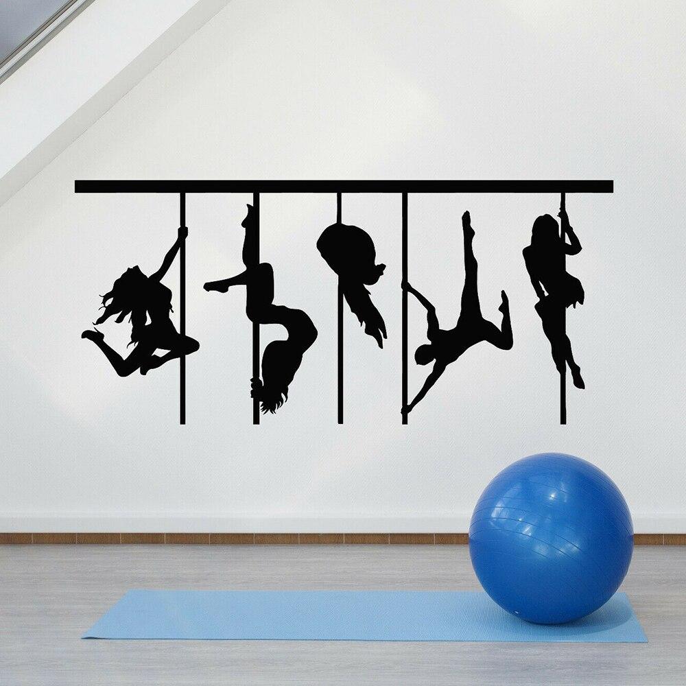 Pole Dance Silhouette Wand Aufkleber Sexy Frauen Tänzer Kunst Vinyl Fenster Aufkleber Dance Room Bar Innen Dekoration Tapete E116