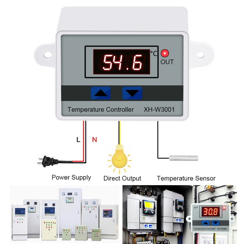 10A 12/24/110/220V AC Microcomputer LED Temperature Control XH-W3001 For Incubator Cooling Heating  Thermostat With Probe