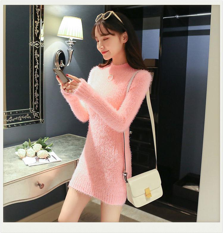 Imitation mink wool autumn and winter sweater dress women loose lazy half high collar mid-length 2021 new sweater winter dress enlarge