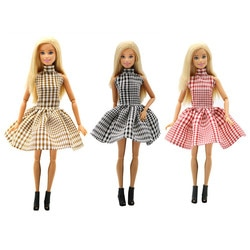 Retro 80s estilo longo treliça vestido boneca vestir acessórios jogar casa vestir crianças brinquedos multi cores