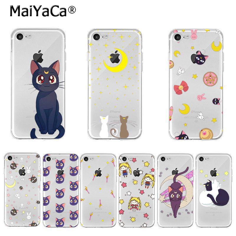 MaiYaCa, Sailor Moon, Luna Cat, foto personalizada, funda de teléfono suave para iPhone 11 Pro XS MAX XR 8 7 6 6S Plus X 5 5S SE, funda