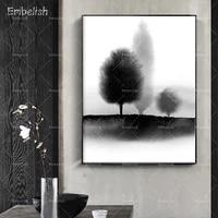 Affiches dart mural de paysage darbre a encre de Style nordique pour salon  decoration de maison moderne  images de toile HD 1 piece