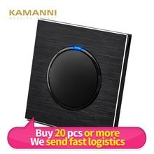 Kamanni Wall Light Switches Luxury Power Push Reset Switches Black Light Switches 1/2/3/4 Gang 1/2 Way Aluminum Alloy Panel 220V
