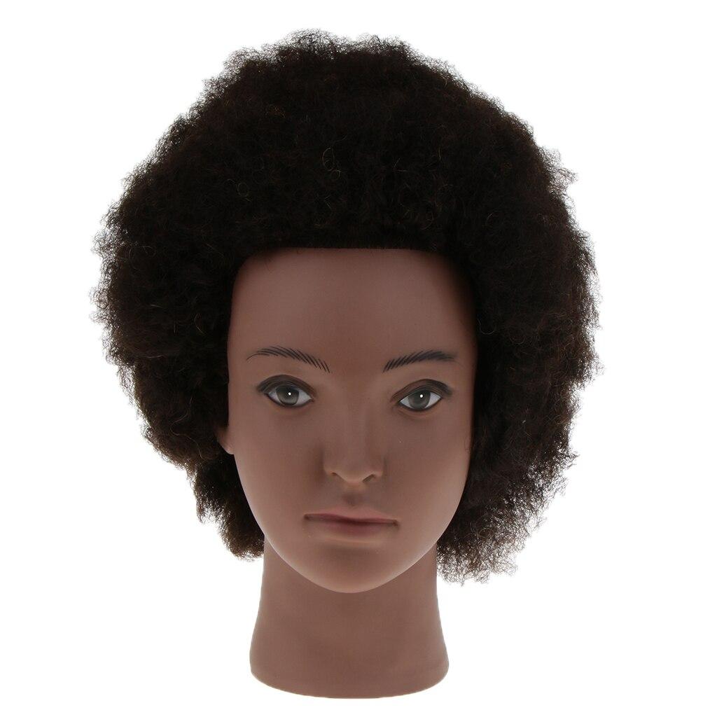 Preto afro manequim cabeça 100% real cabelo cabeleireiro formação cabeça manequim cosmetologia boneca cabeça