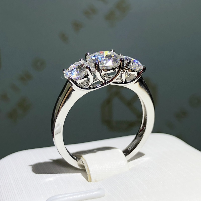 9K White Gold Ring round cut Moissanite jewelry high quality Engagement Anniversary Ring 2ctw 6.5mm