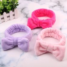 New Colorful Coral Fleece Wash Face Hairbands For Women Cute Soft Bow Makeup Elastic Hair Bands Head