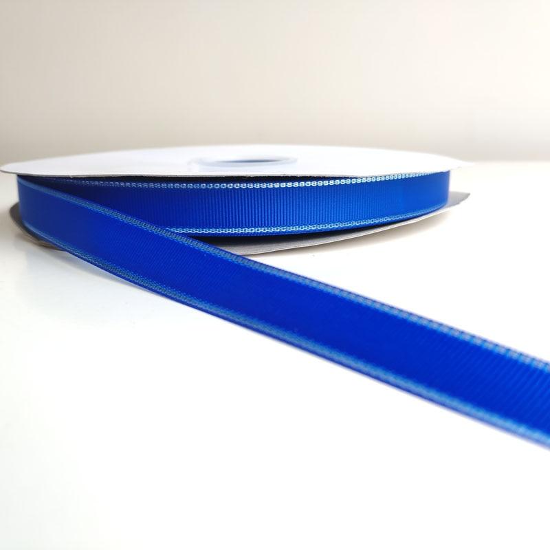 Novo design 16mm largura azul cor cetim fita de gorgorão para o natal/ano novo decoração do feriado fita
