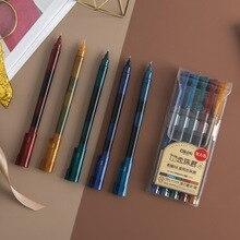 5 pièces/paquet rétro multicolore encre Fine rouleau boule droite liquide Gel stylo Signature neutre stylo école fournitures de bureau cadeau
