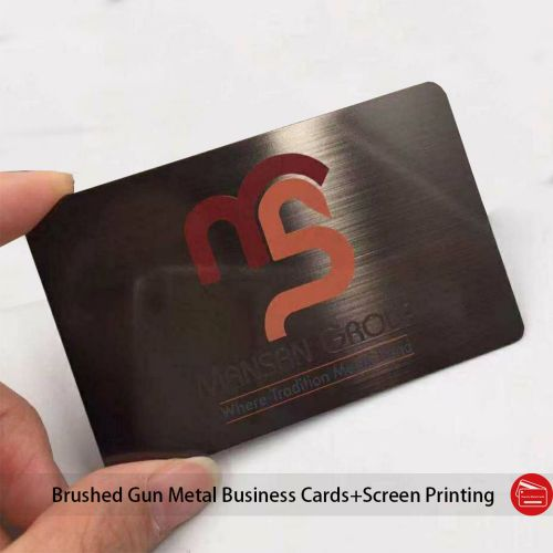 Etched Logo Brushed Gun Gray Color Gunmetal Business Card Wholesale