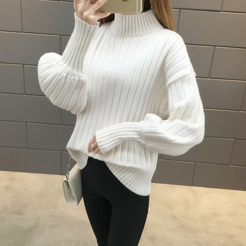 NORMOV Warm Women Sweaters White Loose Turtleneck Lantern Sleeve Knitted Cotton Pullovers Autumn Win