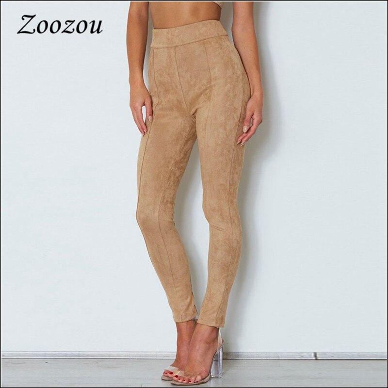 Calças de camurça de cintura alta camelo mulheres voltar zíper magro calças femininas 2020 casual camurça legging estiramento lápis calças personalizadas
