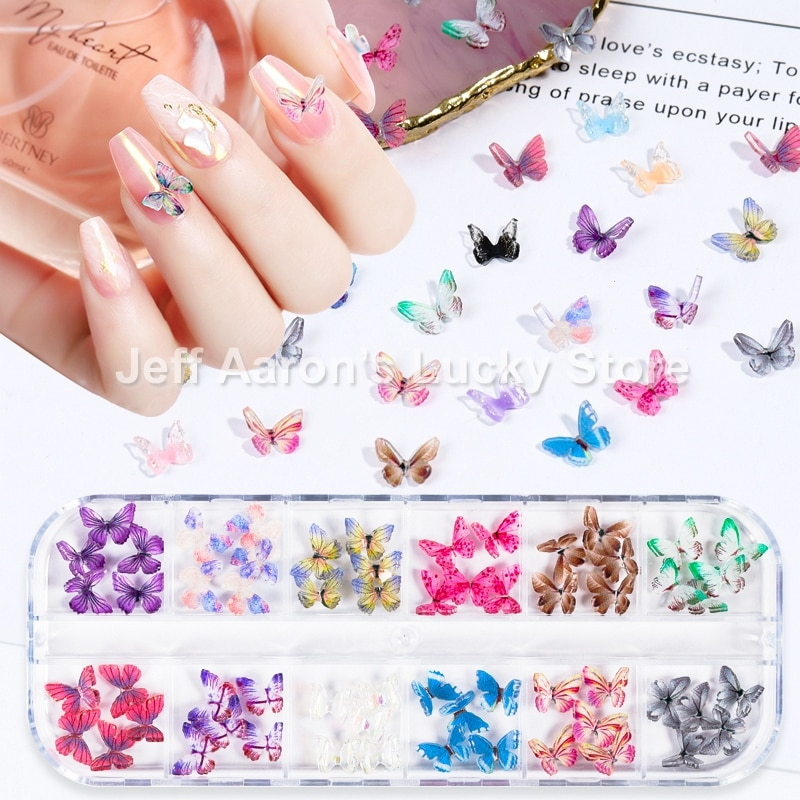 New arrival 1 box 3d butterfly nail art decorations rhinestones decal kit fake nails accessories charms manicure supplies tool недорого