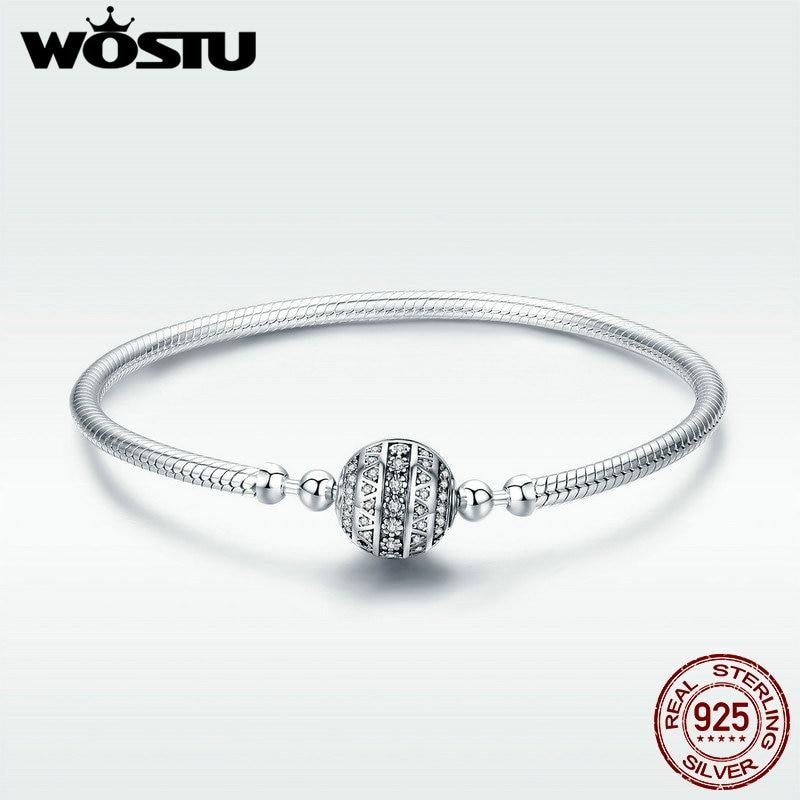 سوار WOSTU أصلي من الفضة الإسترليني عيار 100% عيار 925 مُبهر بمشبك مستدير من CZ وسوار من سلسلة الأفعى مصنوع من الفضة الإسترليني