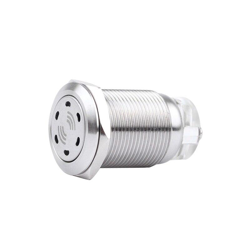 19mm Metal Buzzer Intermittent Flash Stainless Steel High-decibel LED Acousto-optic Alarm 12V24V220V