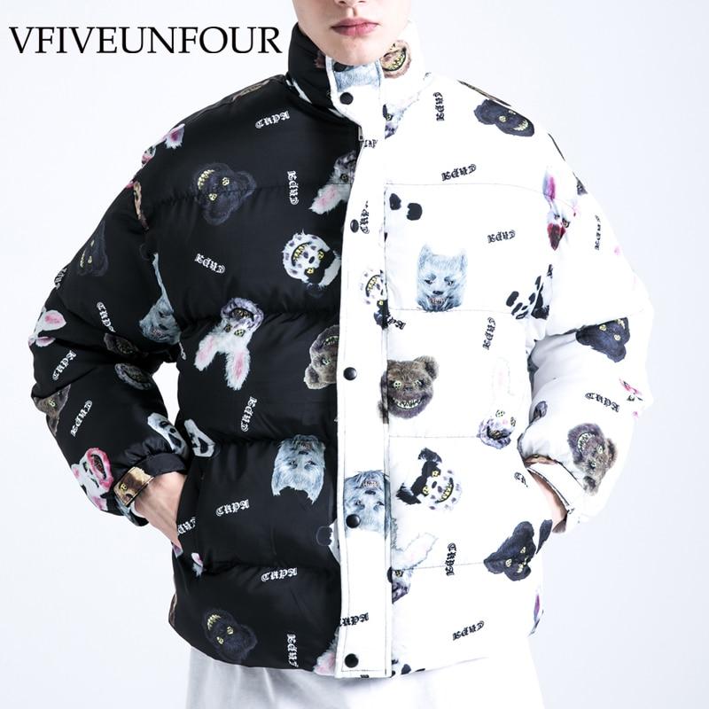 Куртка VFIVE UNFOUR с хлопковой подкладкой в стиле Харадзюку, куртки с рисунком дьявола, кролика, медведя, цветные блочные толстые пальто в стиле ...