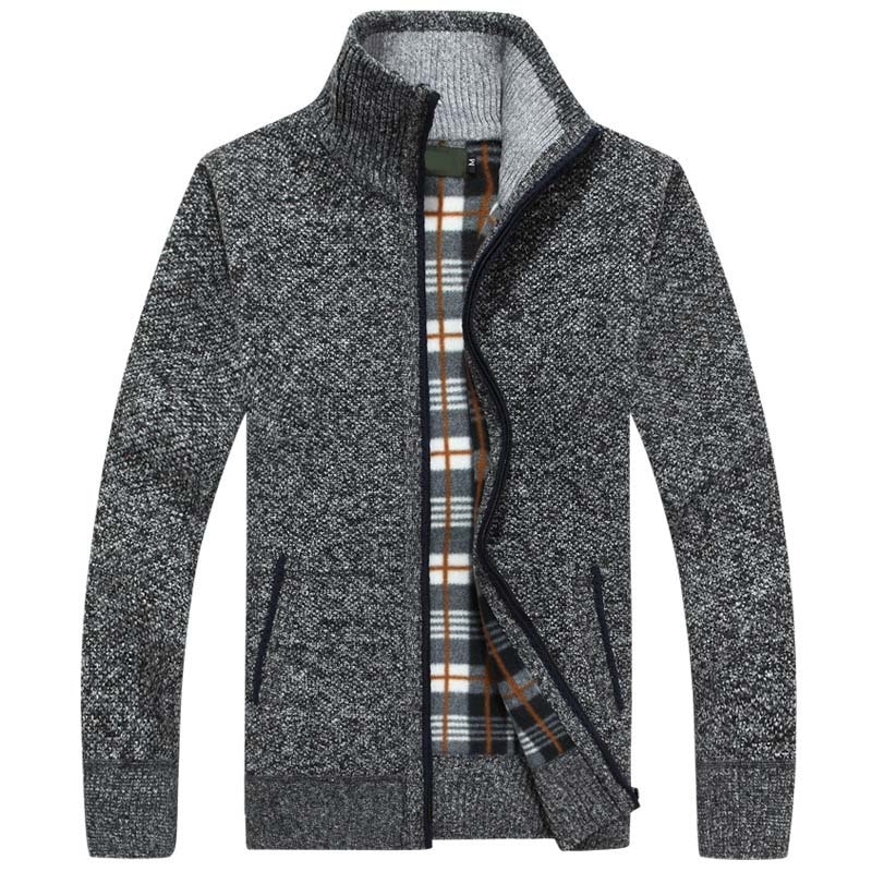 2020 New Autumn Winter Men Sweater Warm Cashmere Wool Zipper Cardigan Men Coat Dress Casual Knitwear Male Clothes