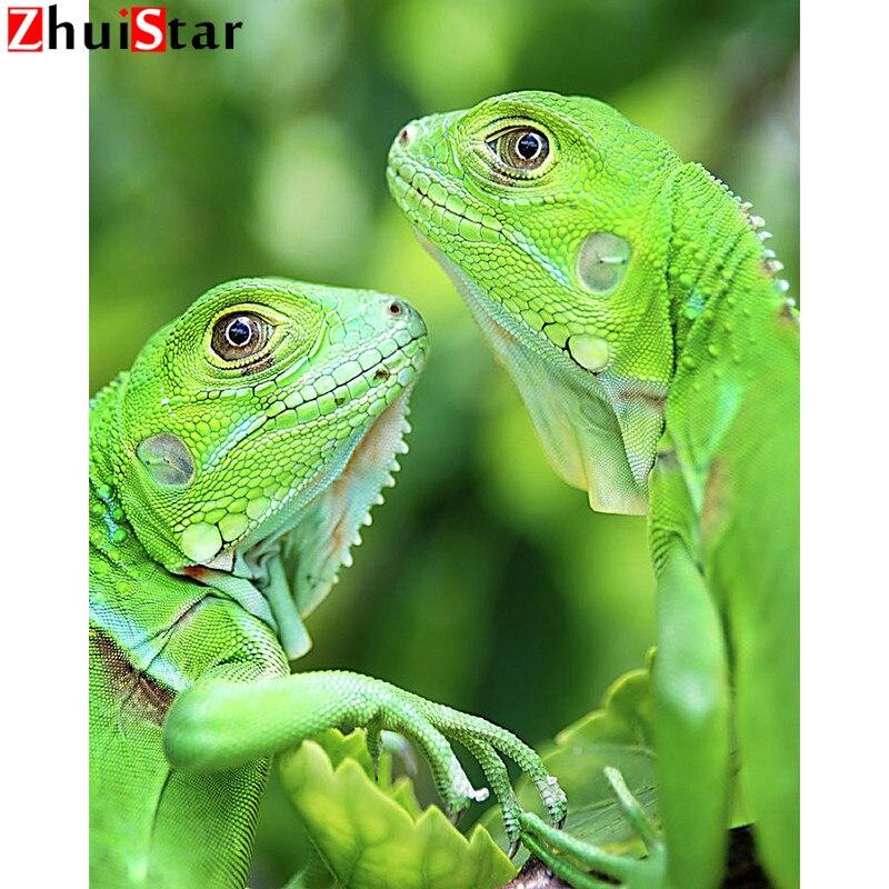 DIY Diamante Pintura animal lagarto Verde Bordado Ponto Cruz Completa Broca Quadrado Presente Home Decor WHH