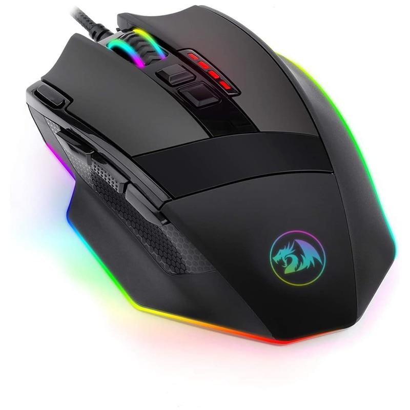 Redragon M801-RGB برمجة الليزر الألعاب Mouse12400 DPI ل PC 9 برمجة أزرار 5 المستخدم لمحات الوزن ضبط