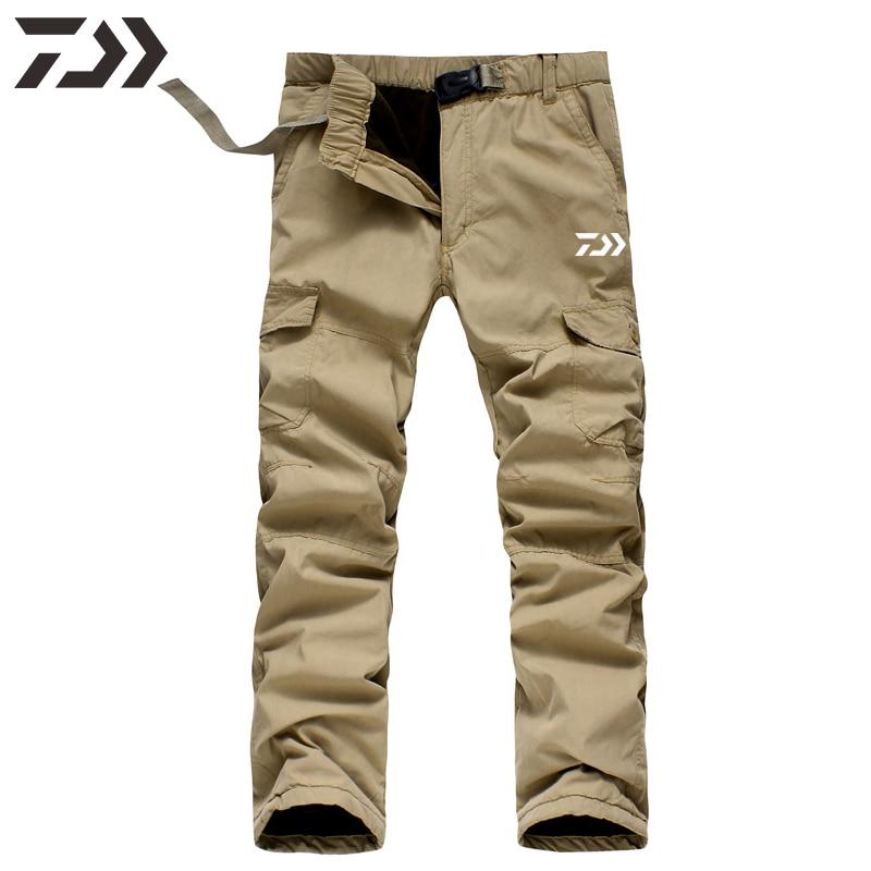 Daiwa Pants Men Fishing Pants Winter Thermal  Solid Multi-pocket Cotton Casual Trousers Sport Loose Pants Men In Sweatpants