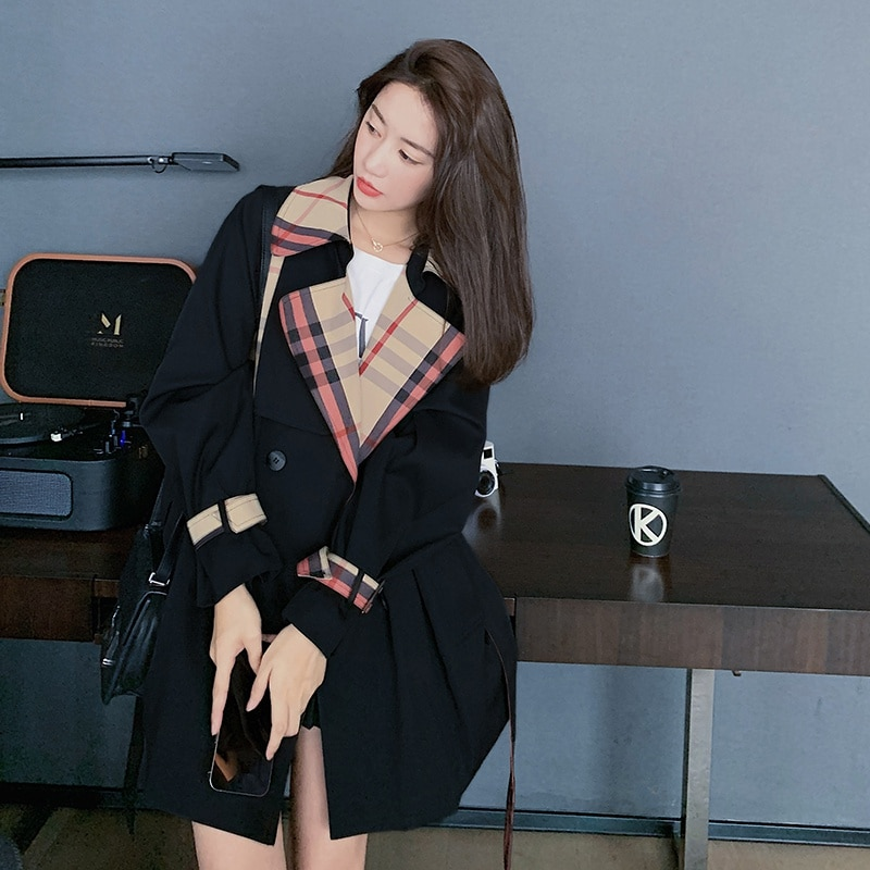 Korean Style Fashion Women Short Trench Coat for Women Plaid Double-Breasted Lady Duster Coat Spring Autumn Outerwear chic women s trench coat spring autumn belted short coat fashion slim fit double breasted short trench coat g092
