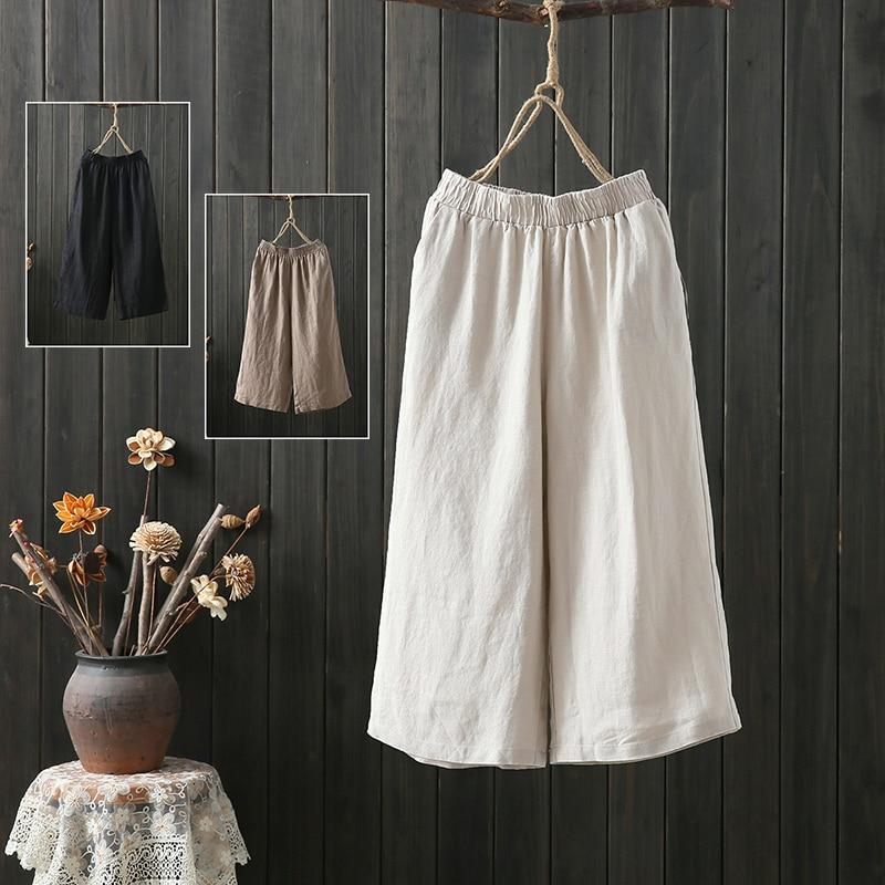 Women's Wide-Leg Pants Summer 2020 New Artistic Loose plus Size Cotton Linen Capri Pants Elastic Wai