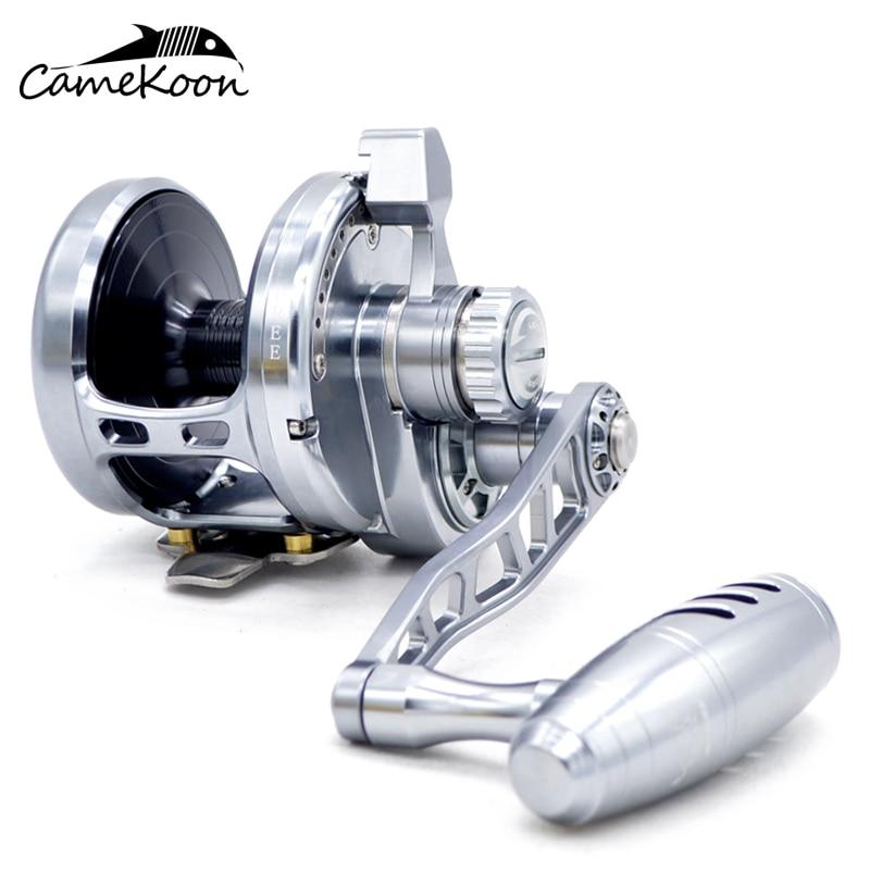 CAMEKOON HU50 carrete de pesca lento 9 + 2 BBs relación de engranaje 5,3 1 carrete de arrastre máximo de 32 kg, carrete de agua salada de mano izquierda/derecha
