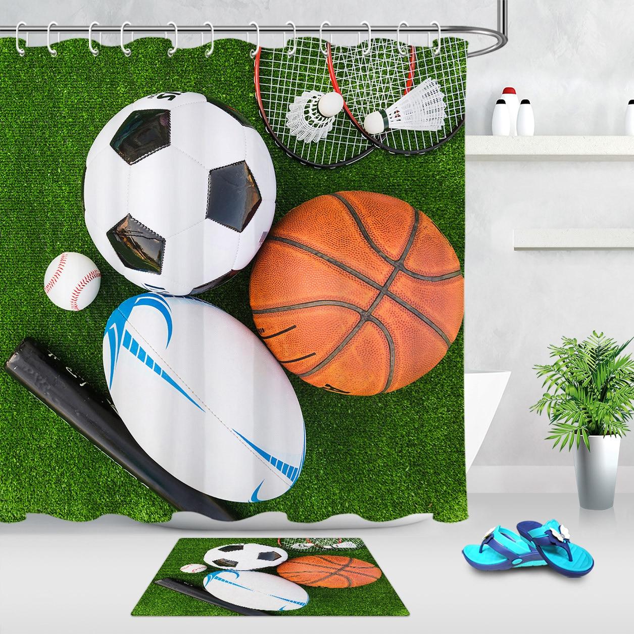 Deportes impermeable ducha cortina baño Mat Badminton fútbol béisbol césped dibujos animados Cortinas de baño con ganchos