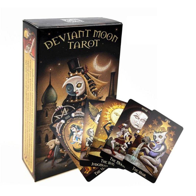 Full inglés Deviant Moon Tarot 78 cartas Deck oráculo partido familiar juego de mesa