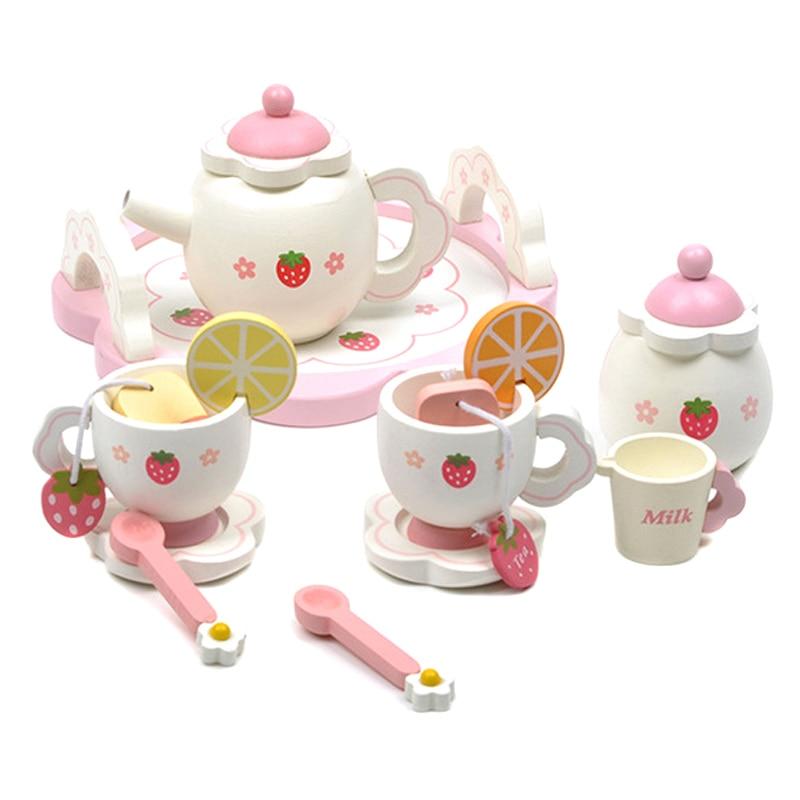 طقم شاي صغير ، فنجان خشبي ، أباريق شاي ، صينية للأطفال ، مطبخ ، لعبة لعب الأدوار ، DC156