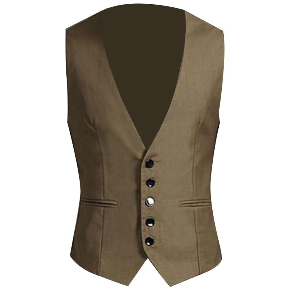 Business Men Solid Color V Neck Button Pocket Sleeveless Slim Vest Waistcoat Formal Business Casual Jacket Vest