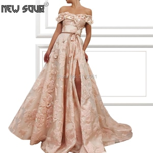 Embroidery Islamic Dubai New Evening Dress Lovely Off the Shoulder Aibye Prom Dresses 2020 Couture Puffy Pageant Gowns Kaftans