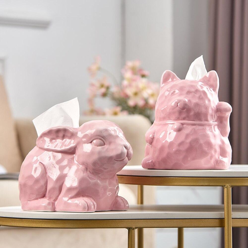 الشمال المنزل الديكور نماذج للحيوانات الحلي أرنب السيراميك الأنسجة صندوق غرفة المعيشة المطبخ مقاوم للماء الأنسجة صناديق ديكور المنزل