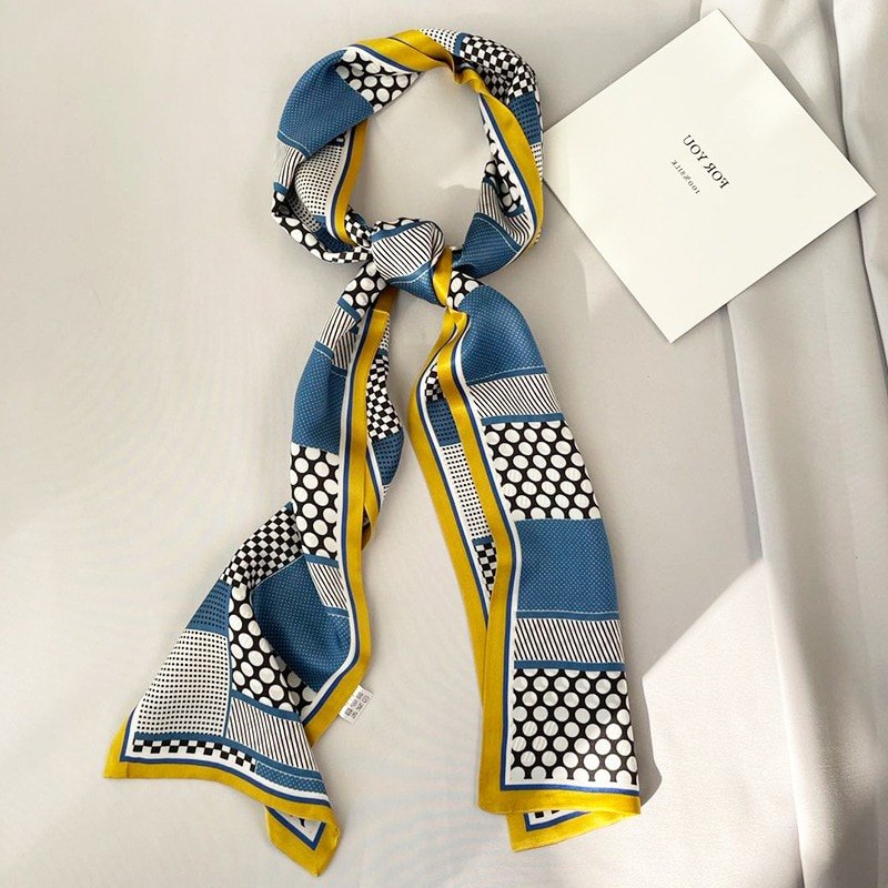 new chic monogram style animal print hair satin scarf ladies luxury scarf headband handbag decoratio