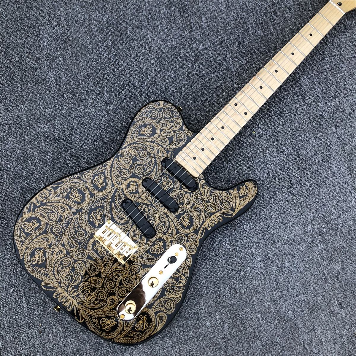 Golden Pattern Solid wood TL Electric Guitar with Maple Fingerboard