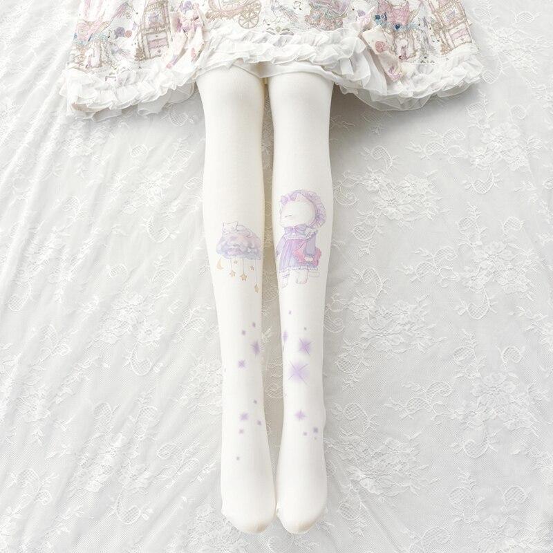 Nubes estrella Meow lolita pantimedias japonesas de fondo calcetines puede Ailuolita impresión Lolita chica medias