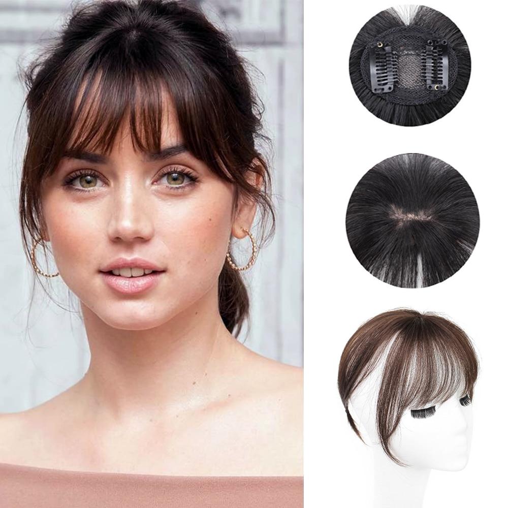 3D Air Bangs Women's Synthetic Hair Bangs Hairpiece Clip In Hair Extensions Heat Resistant Fake Hair Accessories Neat Bangs