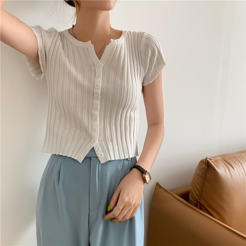 CMAZ Fashion Short-sleeve T-shirt Women 2021 New Tees Stretch Knitted Tshirt Solid Casual Summer Fem