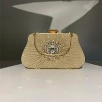 party day clutch banquet 2021 new design handbags purse ruched women evening bags diamonds flower handle
