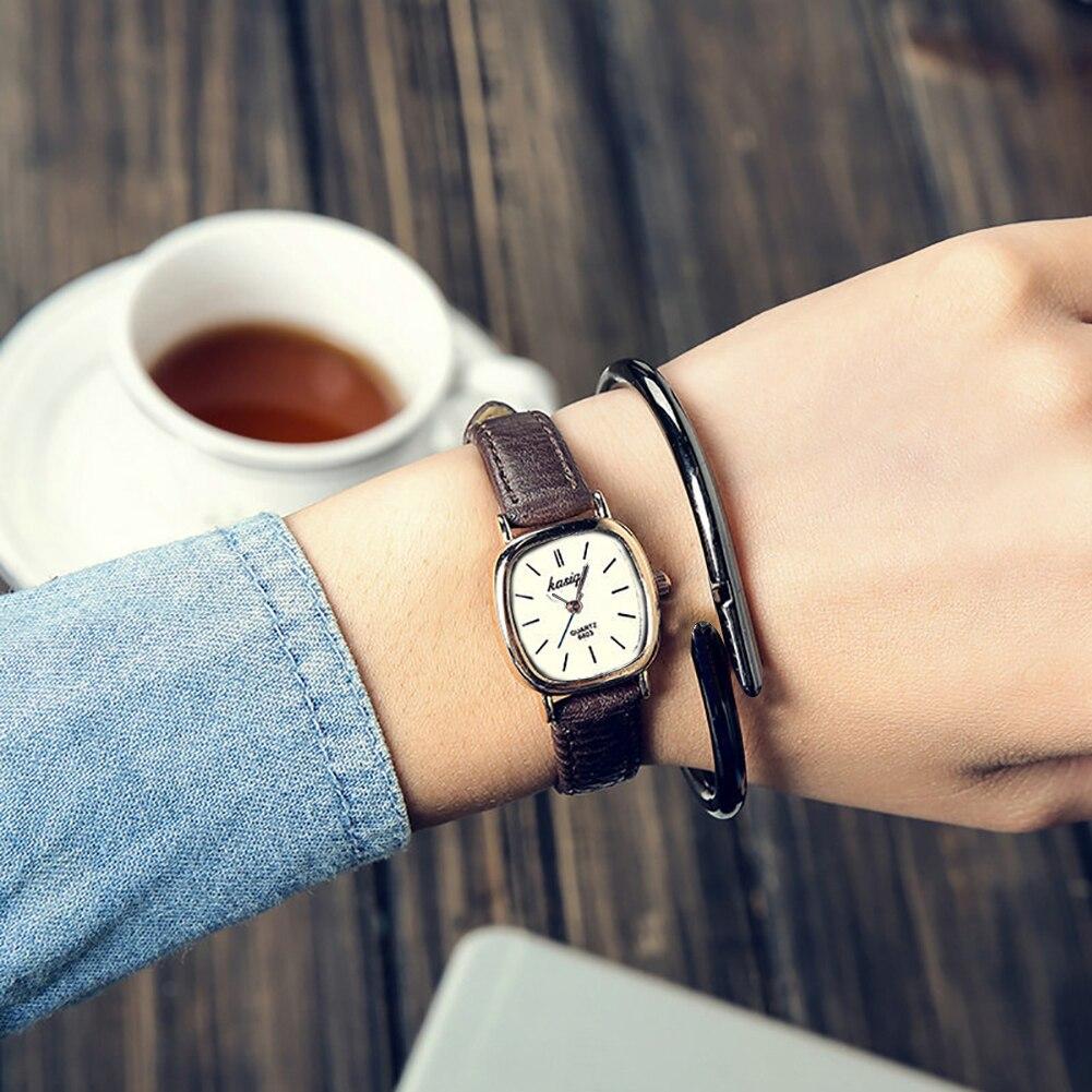 Vintage Square Thin Unisex Quartz Analog Couple Wrist Watch Faux Leather Band Strap Valentine's Day