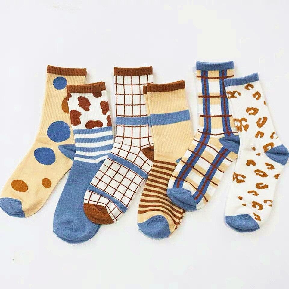 2020 nouveau adulte mi-mollet équipage chaussettes rayures points chèques bovins laitiers Milch vache tache girafe motif Camouflage bulles livraison directe
