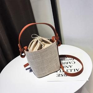 Canvas Women Bags Drawstring Bucket Bag Female Handbags 2021 New Korean College Students Solid Color Casual Ladies Messenger Bag