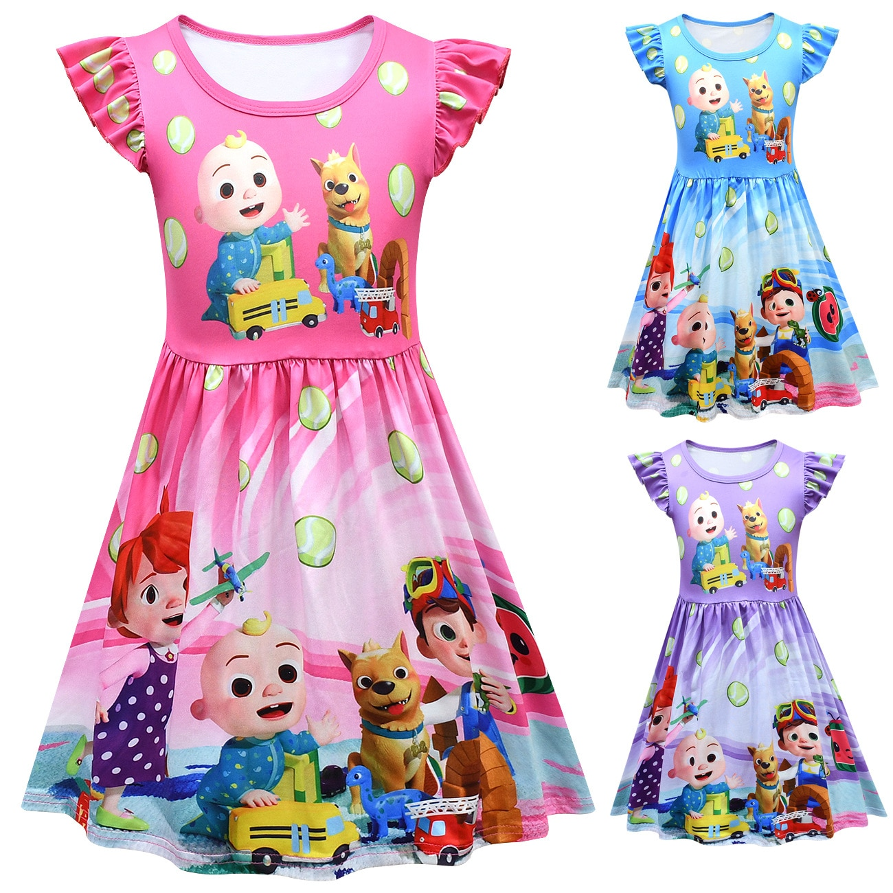 2021 Summer Baby Girls Dresses Cute JJ Cocomelon Print Princess Party Dress for Girls Vestidos for Wedding Clothes Kids Costumes