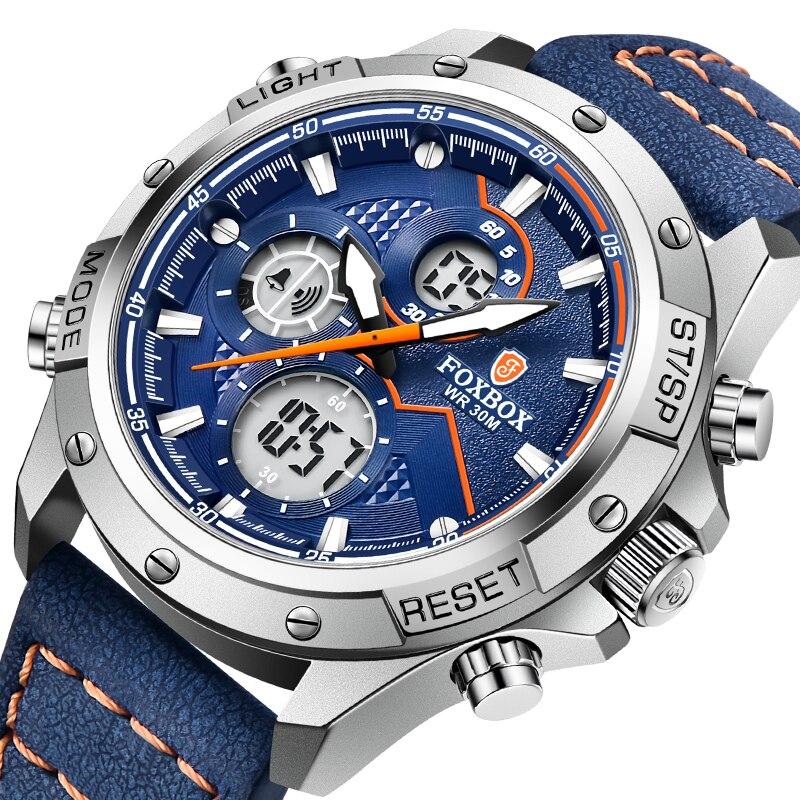 Мужские часы 2021 FOXBOX топовый бренд Роскошный двойной дисплей кожа спортивные наручные часы для мужчин водонепроницаемые светящиеся кварцев...