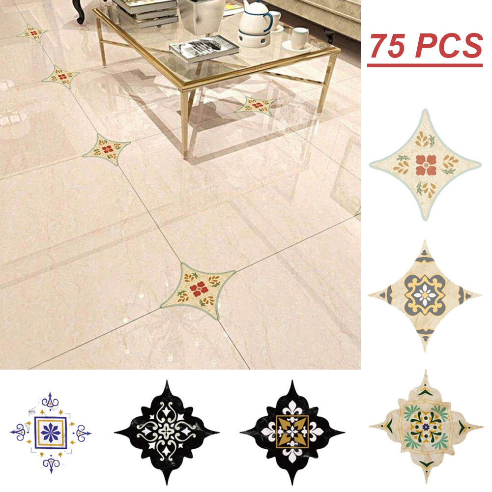 75pcs Peel and Stick Tiles(8*8 cm) Talavera Removable Stickers for Bathroom Wall & Floor Corner Stickers Living Room Floor Decor