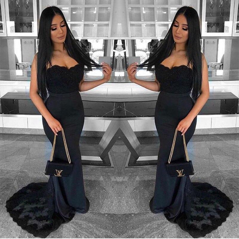 فستان حفلة من الدانتيل الأسود ، مقاس كبير ، أكتاف عارية ، فستان سهرة رسمي ، قطار المحكمة ، فستان حفلة ، 2020