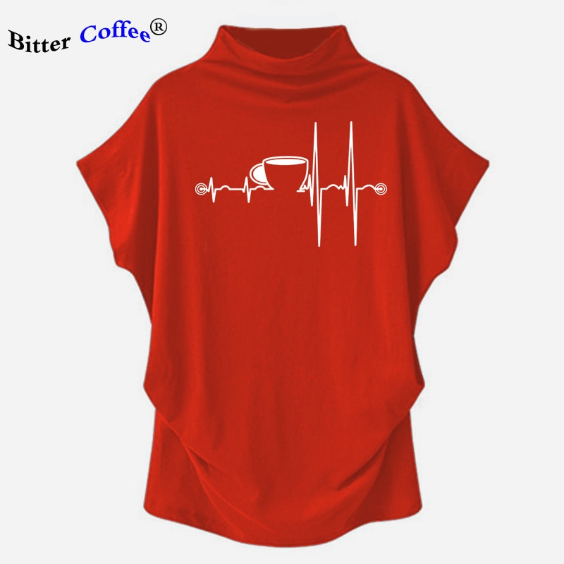 Heartbeat ECG camisetas mujeres taza impresa manga corta de murciélago camisetas Harajuku Ulzzang Tumblr gráfico Camisetas Mujer caliente