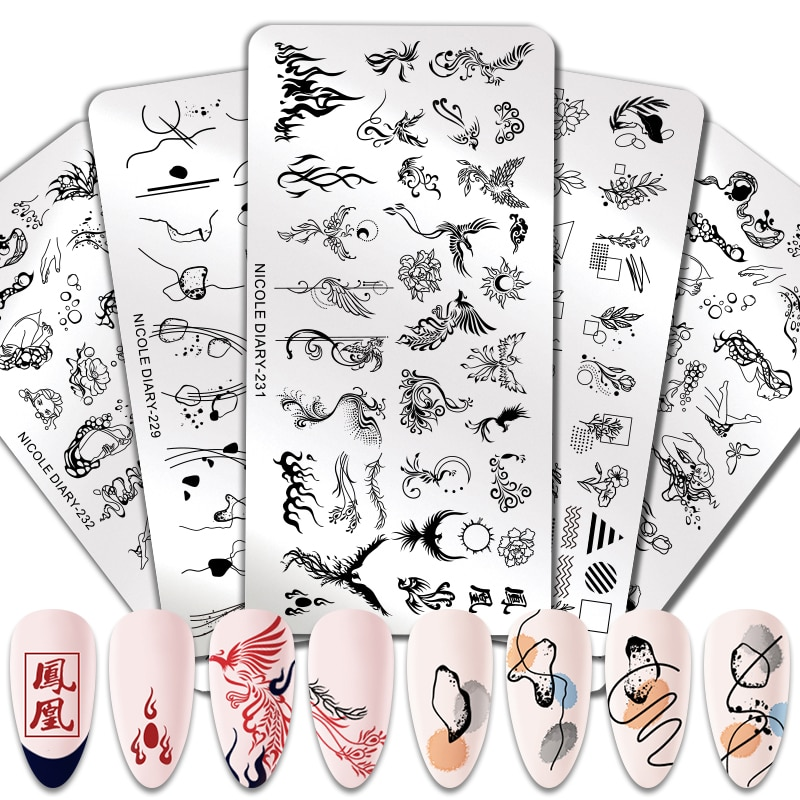 NICOLE DIARY Geometric Line Color Block Nail Stamping Plates Plant Flower Pattern Nail Art Image Stamp Stencils Templates Tool недорого