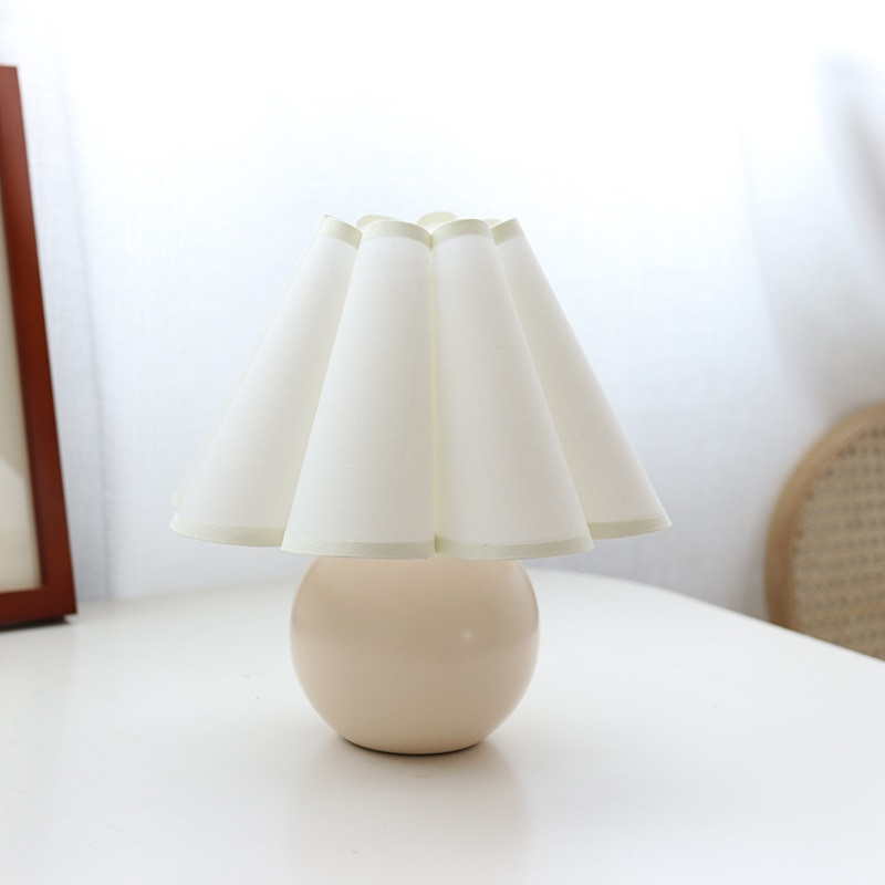 Retro cloth lamp Korean table lamp bedroom living room lamp home decoration creative pleated lamp with bulb multicolor lampshade enlarge