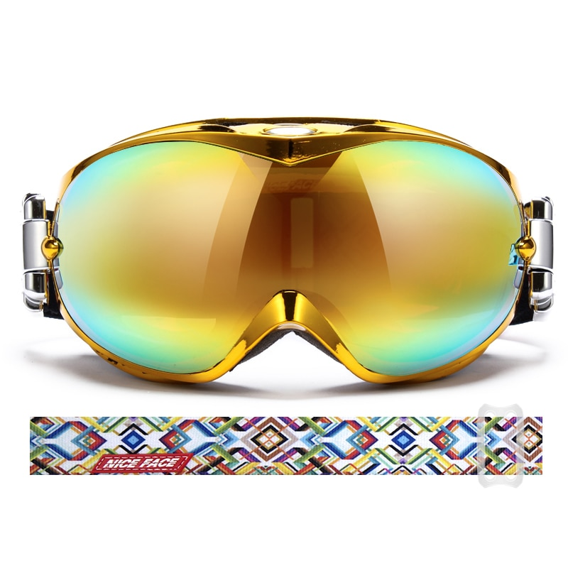 Luxury Gold Adult Ski Goggles Double-Layer Anti-Fog Ski Goggles Men Women Outdoor Outdoor Mountaineering Cycling Sports Glasses