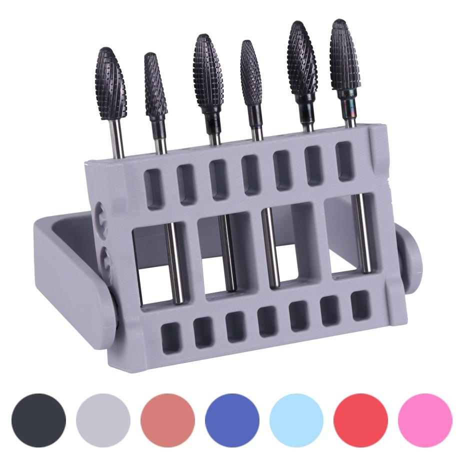 16 слот коробка для хранения ногтей сверло пустой держатель подставка Фрезерный резак красочный дисплей контейнер кейс акриловый Маникюрный Инструмент JI904